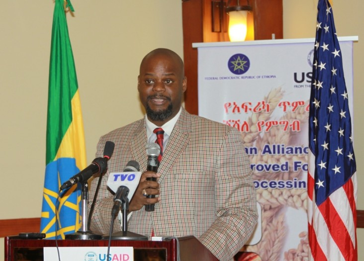 USAID Ethiopia Deputy Mission Director Jason Fraser addresses approximately 60 guests at the AAIFP project launch in Addis Ababa