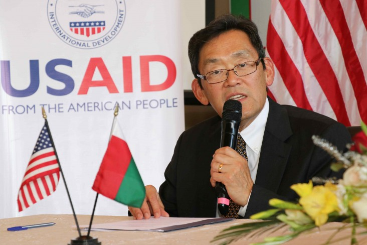 U.S. Ambassador Robert T. Yamate announces the $1.2 million in support for Madagascar's election preparations.