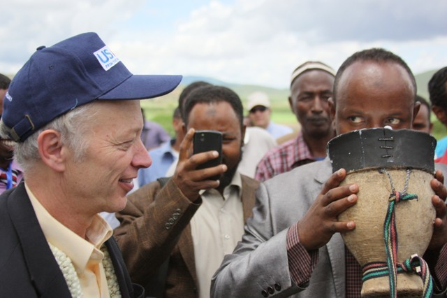 USAID Ethiopia Mission Director Dennis Weller (left), Somali Regional State government representatives, and village elders