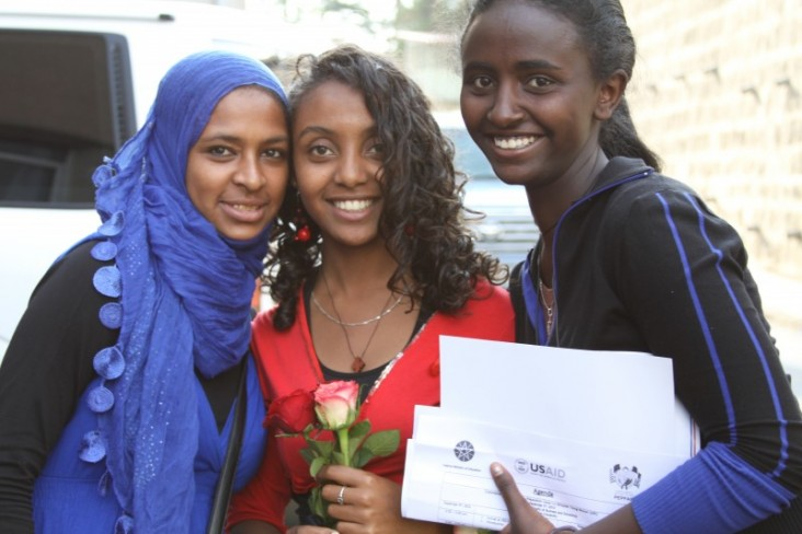 Three of the students who successfully completed the first stage of the University Preparation Camp.