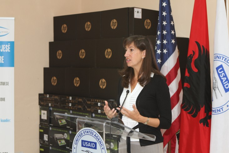USAID's Assistant Administrator for the Bureau of Europe and Eurasia, Paige Alexander, delivers remarks