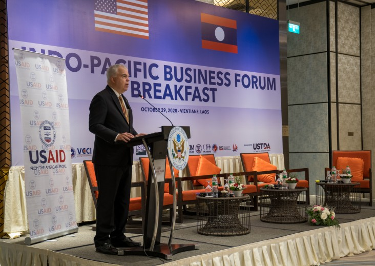 U.S. Ambassador to the Lao PDR Dr. Peter M. Haymond Delivers Opening Remarks at the Indo-Pacific Business Forum in Vientiane Capital.