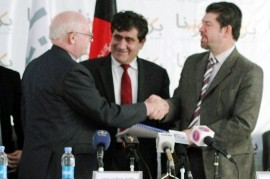 DABS chairman Abdul Razique Samadi and Deputy Finance Minister Mohammad Mustafa Mastoor signed the contract for the installation