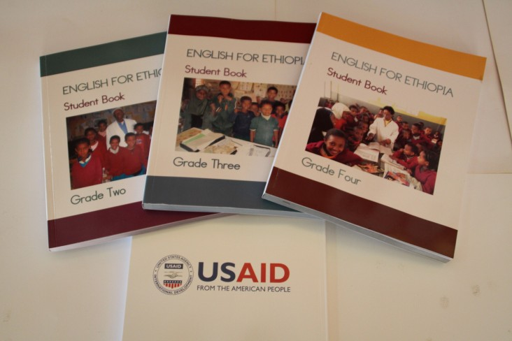 Three of the 5.5 million English language textbooks, developed and published with USAID assistance, for students