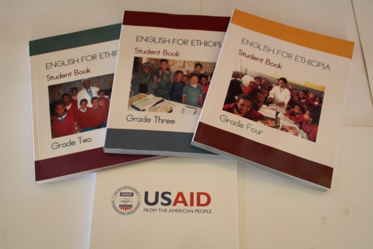 Three of the 5.5 million English language textbooks, developed and published with USAID assistance.