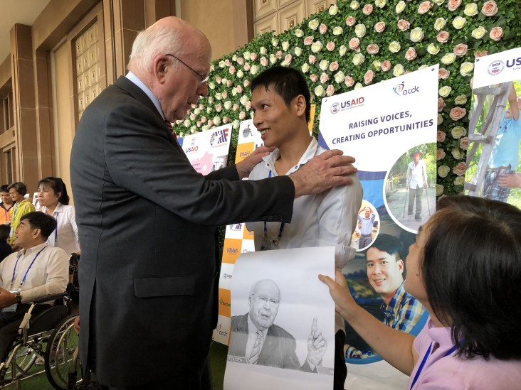 Photo: U.S. Senator Patrick Leahy and a person with disabilities at the event.