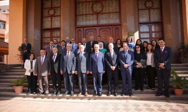 Representatives pose together at Menoufia University