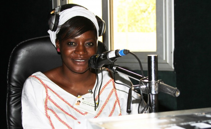Woman reporter Ndeye Yacine Thiam at work at Gindiku FM radio