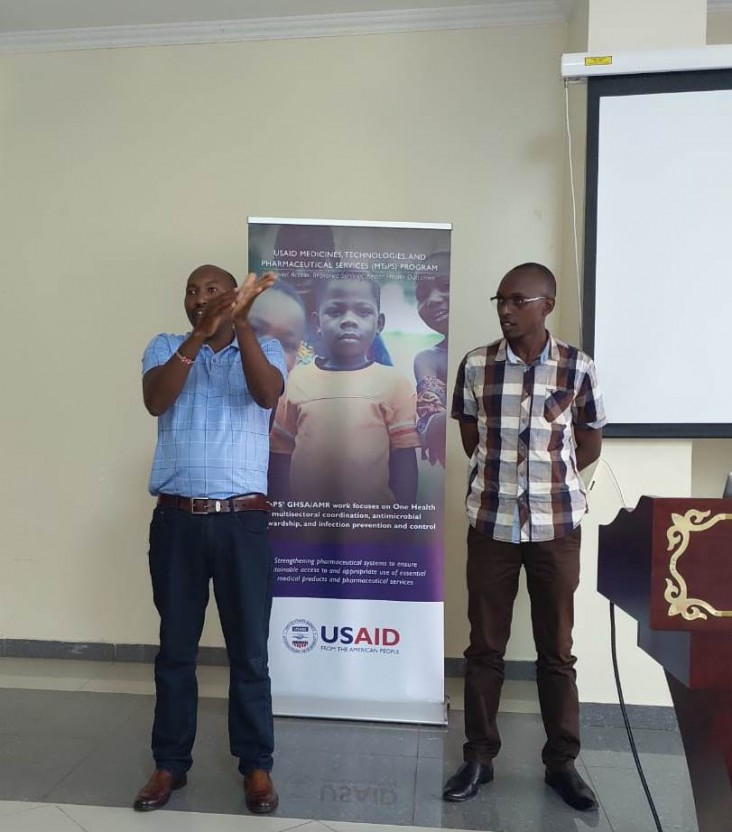 This hand hygiene demonstration was conducted during USAID's MTaPS training for master trainers. The training focused on providing optimized care for infected patients as well as how to limit secondary infections among healthcare workers, other patients, and close contacts.