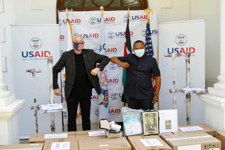 USAID Mission Director Mark Meassick delivers  14 new modern ventilators to Mombasa County to assist its fight against COVID-19.