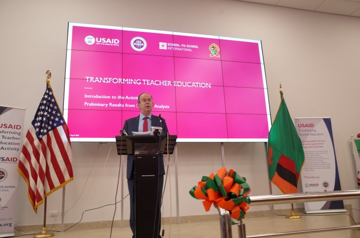 Chargé d'Affaires a.i. David Young delivers remarks at the launch of the Transforming Teacher Education activity.