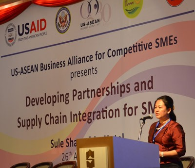 Dr. Thet Thet Khine, Vice President of Myanmar Women Entrepreneurs Association, speaks to over 250 SMEs about building a competi