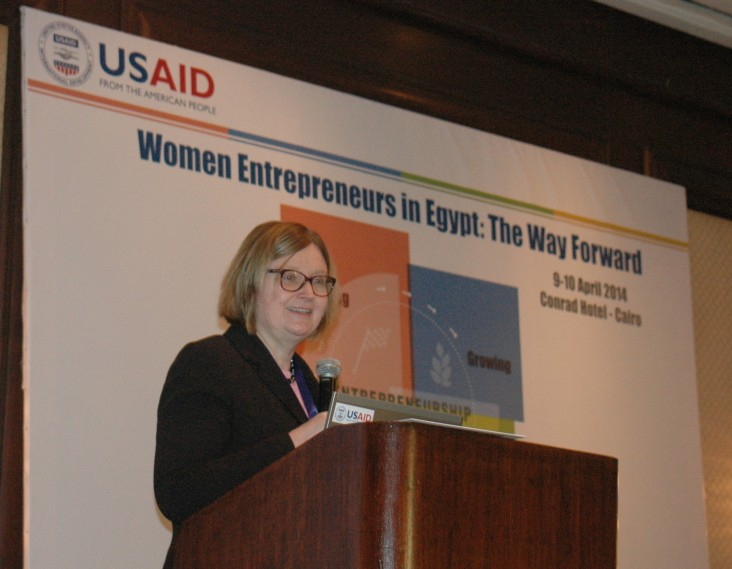 USAID/Egypt Mission Director Dr. Mary C. Ott speaks at a conference on women entrepreneurs in Egypt