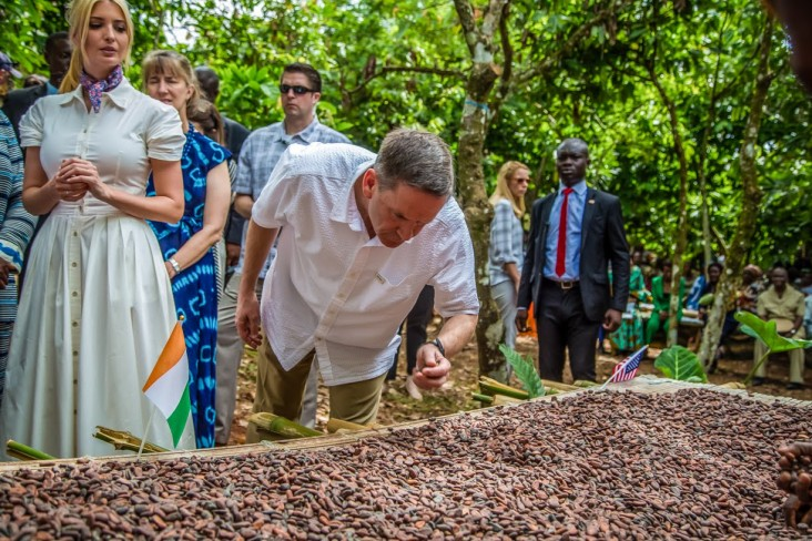 USAID Administrator in a cocoa farm with Advisor to the White House