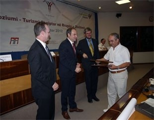 USAID Mission Director, Jim Barnhart and Minister of Tourism, Aldo Bumçi