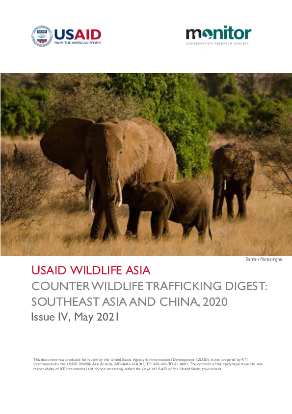 New USAID Counter-wildlife Trafficking Digest Reveals a Steep Decline in Reported Seizures
