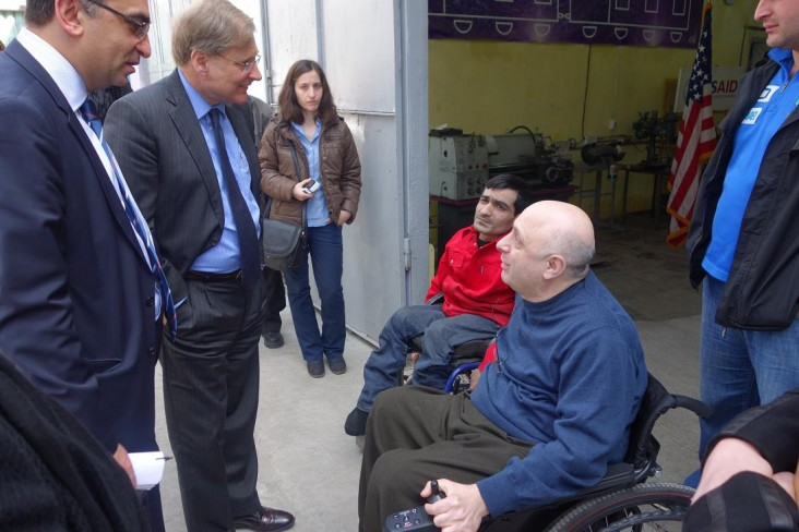 Ambassador Norland with Giorgi Dzneladze, President of the Coalition for Independent Living