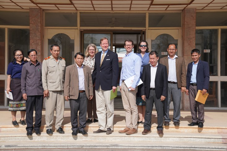 From center left to right: Assistant Administrator for USAID's Bureau for Legislative and Public Affairs Richard Parker and Deputy Chief of Mission Colin Crosby Joined Officials at Xieng Khouang Provincial Governors Office.