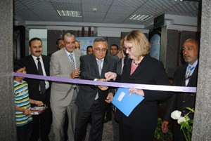 USAID/Egypt Mission Director Dr. Mary C. Ott cuts ribbon to inaugurate the Tamayouz Center in Sohag.