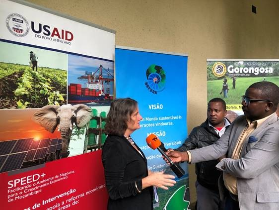 Director Jennifer Adams answers questions about USAID conservation programs.  She stresses the importance of integrating law enforcement efforts with community development