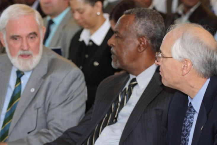 R-L: U.S. Ambassador Donald Booth, Purdue University Professor Gebisa Ejeta and USAID Mission Director Staal