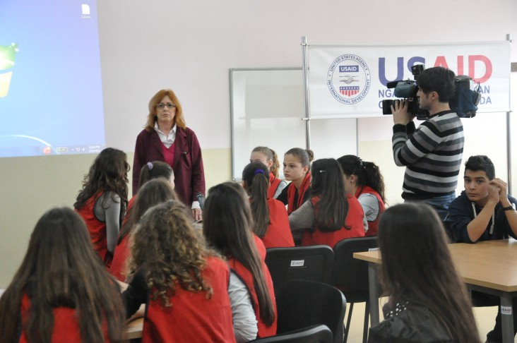 A teacher from Zekeria Rexha school in Gjakova during the filming.