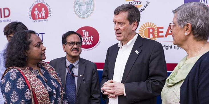 Mark Green, USAID Administrator, speaks at an event in India