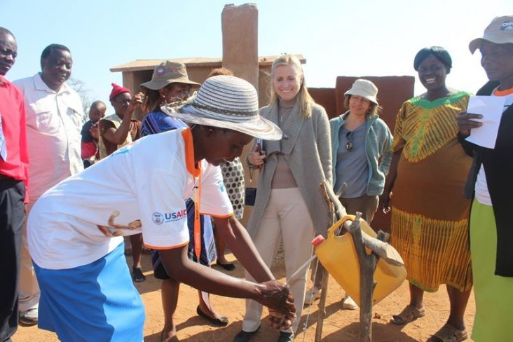 USAID helped communities set up tippy taps for hand washing.