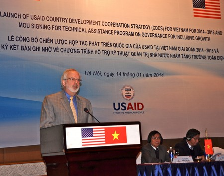 U.S. Ambassador David Shear speaks at the launch for USAID's Vietnam Country Development Cooperation Strategy.