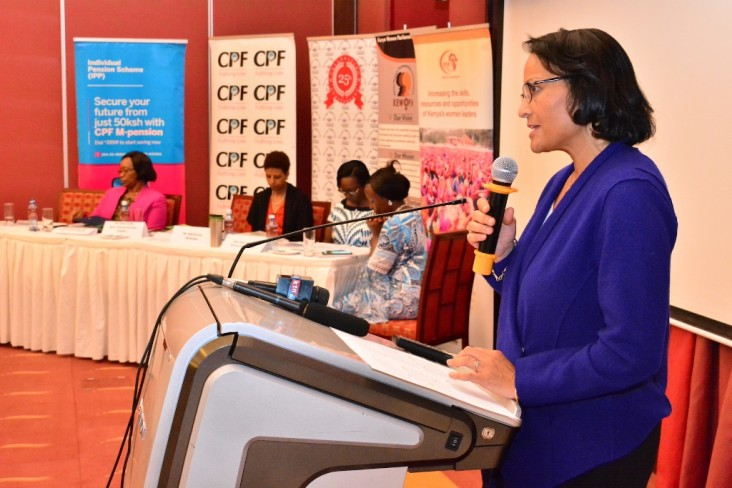 USAID Kenya and East Africa Mission Director, Tina Dooley-Jones giving remarks during the Kenya Women Parliamentary Association (KEWOPA) induction workshop