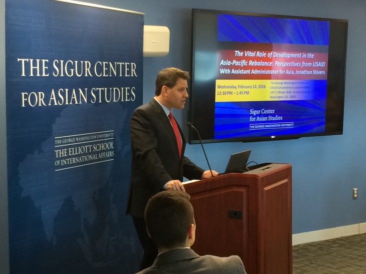 Assistant Administrator Stivers speaking at the Sigur Center for Asian Studies, George Washington University, Washington, DC