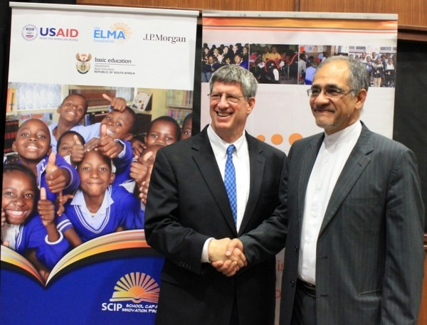 U.S. Ambassador to South Africa Donald H. Gips and South African Deputy Minister of Basic Education, Enver Surty at the launch.
