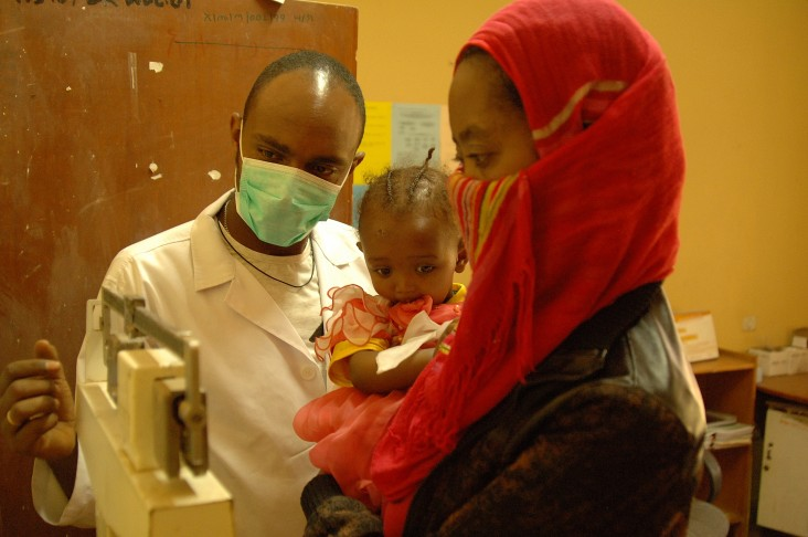 A patient check-up at Akaki Health Center.