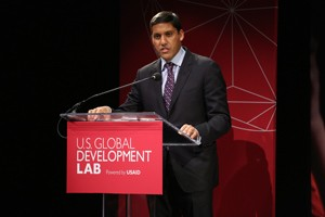 Administrator Rajiv Shah speaking at the launch of the U.S. Global Development Lab