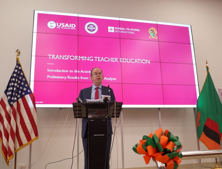 U.S. Embassy Chargé d'Affaires David Young delivers remarks at the Transforming Teacher Education in Zambia Activity Launch