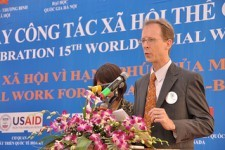 USAID Mission Director Joakim Parker announces the Social Work Education Enhancement Program.