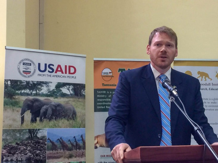 USAID/Tanzania Acting Deputy Mission Director Greg Butler congratulates the Government of Tanzania, conservation partners, and the USAID PROTECT project for their role in finalizing the National Chimpanzee Conservation Action Plan.
