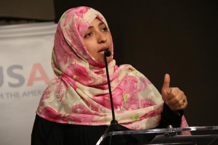 2011 Nobel Peace Prize laureate Tawakkol Karman speaks at the DRG Forum