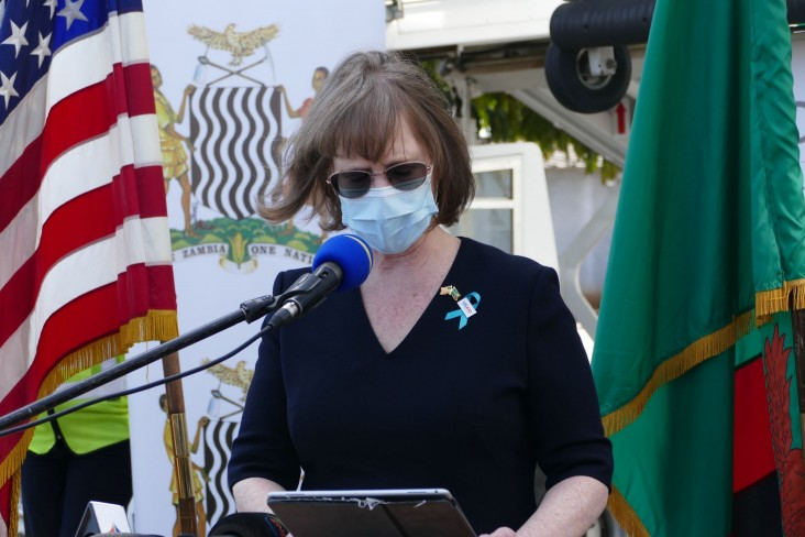 USAID/Zambia Mission Director delivers remarks during the COVAX J&J vaccine arrival event.
