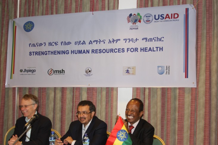 Minister of Health Tedros Adhanom (c), Dr. Damtew Dagoye (r) and USAID Ethiopia Mission Director Dennis Weller.
