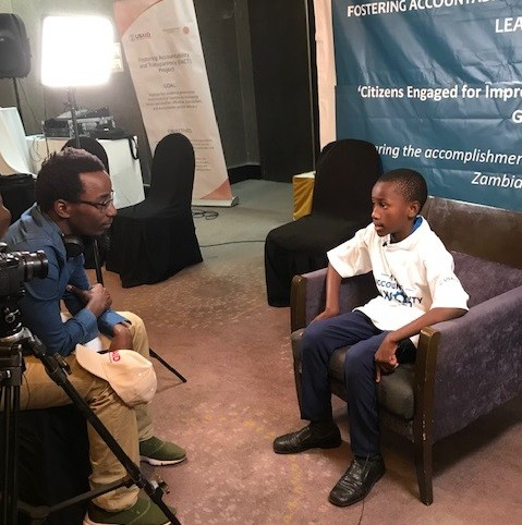Chiti Mwila of Eastern Province is interviewed after the FACT Learning Event in Lusaka on September 24, 2019