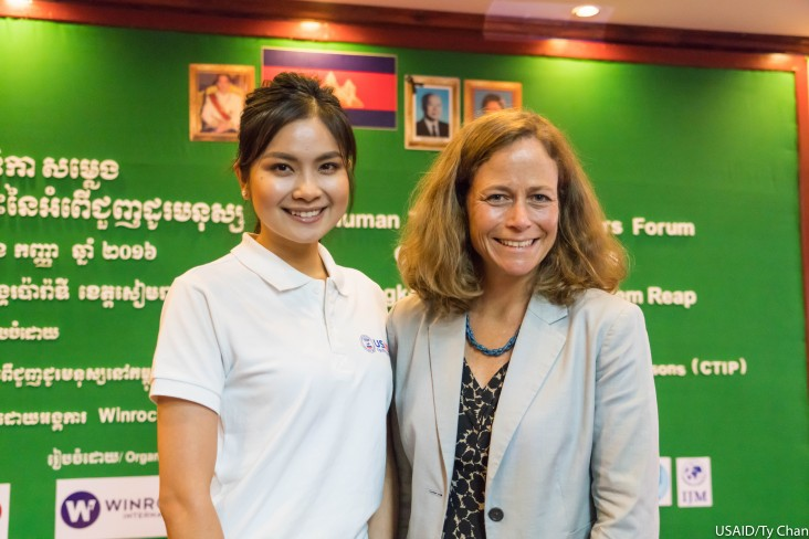 USAID Mission Director Polly Dunford and Goodwill Ambassador Ms. Mean Sonyta