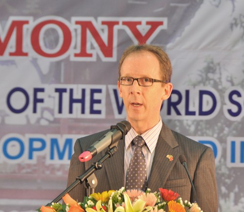 USAID Mission Director Joakim Parker speaks at the ceremony to mark the World Social Work Day.