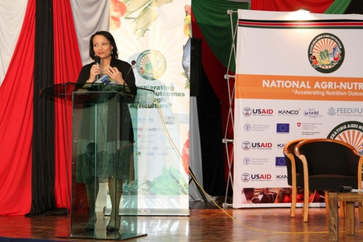 Tina Dooley-Jones Acting Mission Director, USAID makes her keynote address during the official opening of the Agri-nutrition conference in Nairobi