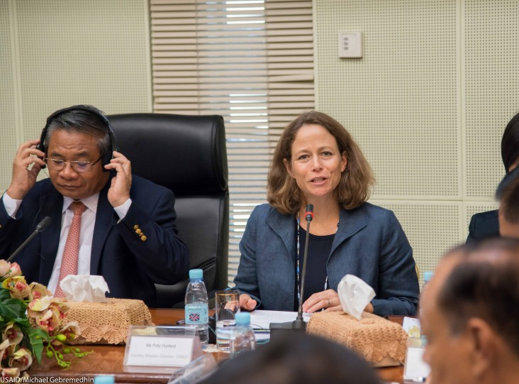 Polly Dunford, Mission Director, USAID Cambodia, speaking at the Food Security and Nutrition Technical Working Group.