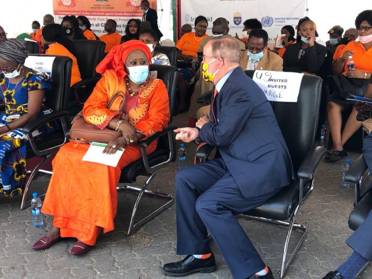 U.S. Embassy Chargé d'Affaires, a.i. David Young speaks with Ms. Coumba Mar Gardio, UN Resident Coordinator at the 16 Days of Activism Against GBV National Commemoration