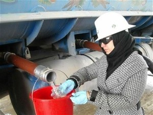 "Wahida, a technician at the power plant, says, ""Being a woman in construction – this is a first time experience."""