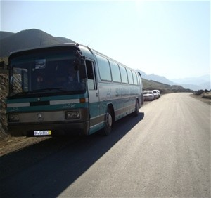 A bus traveling between Kabul and Fayzabad arrives in less than 12 hours, quickly transporting people and their goods. The new U