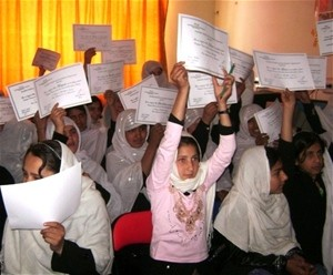 Schoolgirls in Kandahar celebrate their achievements in English and computer courses offered by the Kandahar Health and Developm