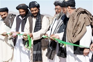 District Governor Hajji Abdul Ghani (second from left) and elders from three area villages inaugurate the opening of the Robat R
